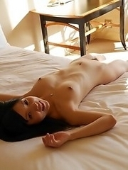 Lovely and cute Japanese av idol Airi Minami masturbates in her hotel room