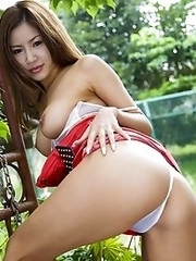 Kaera Uehara Asian takes jugs out of red bra out of the house